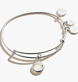 ALEX AND ANI Charm Bangle Clear Crystal April Birthstone in Silver