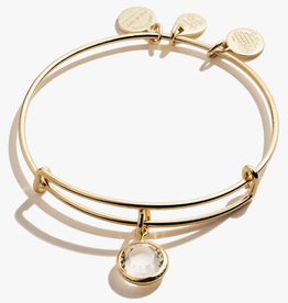 ALEX AND ANI Charm Bangle Clear Crystal April Birthstone in Gold