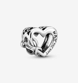 PANDORA Love You Mom Infinity Heart Charm-Sterling Silver