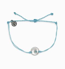 PURA VIDA Shimmering Wave Silver Bracelet Crystal Blue