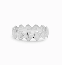 PURA VIDA Clam Shell Band Ring Silver Sz 6