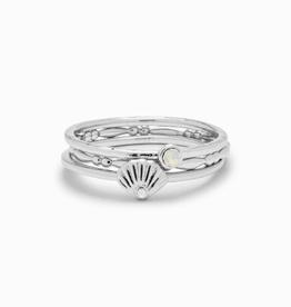 PURA VIDA Opal Shell Ring Stack Silver Sz 5
