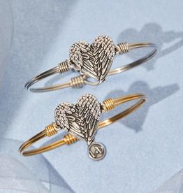 LUCA & DANNI Bangle Bracelet Angel Wing Heart w/Crystals: Regular