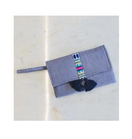 Chambray Wristlet Clutch Blue/Lapis