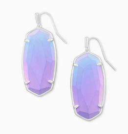 KENDRA SCOTT Earrings Faceted Elle Silver Drop Iridescent Lilac