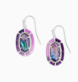 KENDRA SCOTT Earrings Threaded Lee Drop Silver Lilac Abalone