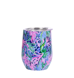 LILLY PULITZER Stainless Wine Glass w/Lid Bringing Mermaid Back