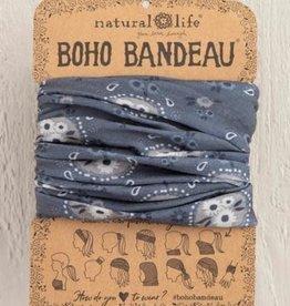 NATURAL LIFE CREATIONS Boho Bandeau  Charcoal. Floral