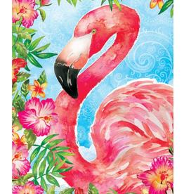CUSTOM DECOR INC Garden Flag Flamingo Flowers