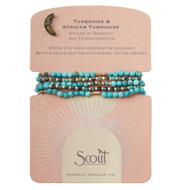 SCOUT CURATED WEARS Stone Duo Wrap Bracelet/Necklace/Pin - Turquoise & African Turquoise/Gold & Silver