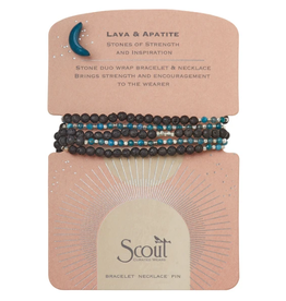 SCOUT CURATED WEARS Stone Duo Wrap Bracelet/Necklace/Pin - Lava & Apatite/Silver
