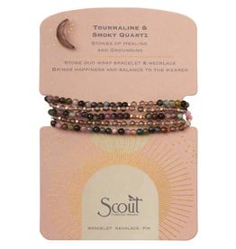 SCOUT CURATED WEARS Stone Duo Wrap Bracelet/Necklace/Pin - Tourmaline & Smoky Quartz