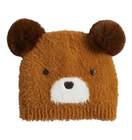 MUDPIE Brown  Fuzzy Bear Knit Hat