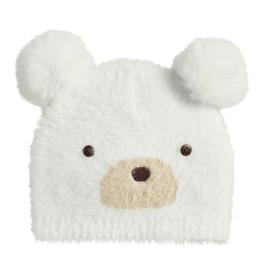 MUDPIE Ivory Fuzzy Bear Knit Hat