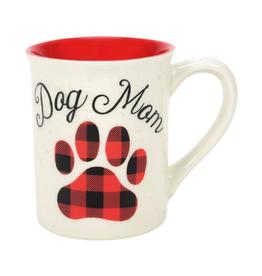 16 oz Mug Dog Mom Paw Print Buffalo Check