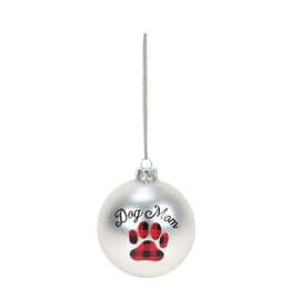 Dog Mom Paw Print Buffalo Check Ornament