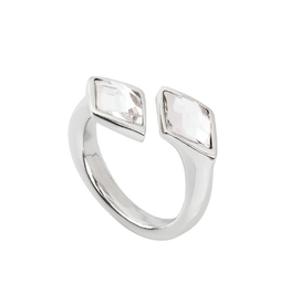 UNO DE 50 Mystery Open Ring Transparent Crystals Silver Sz 7
