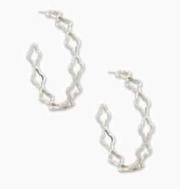 KENDRA SCOTT Abbie Hoop Earrings Rhodium