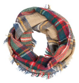 TOP IT OFF Infinity Scarf Plaid Camel