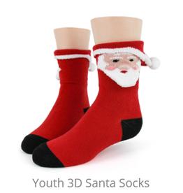 FOOT TRAFFIC USA Youth Socks Santa 3D