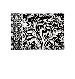 MICHEL DESIGN WORKS Glass Soap DIsh Black Florentine