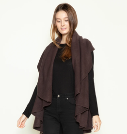 LOOK BY M Basic Shawl Vest Charcoal