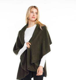 LOOK BY M Basic Shawl Vest Olive