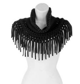 Black Open Weave Infinity w/Fringe Scarf