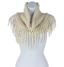 Ivory Open Weave Infinity w/Fringe Scarf