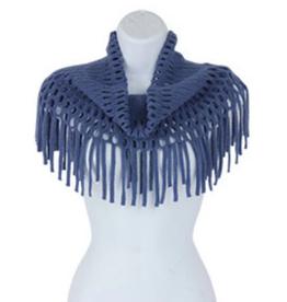 Blue Open Weave Infinity w/Fringe Scarf