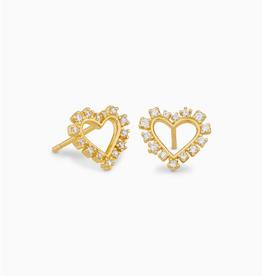 KENDRA SCOTT Earring Ari Heart White Crystal Stud Gold