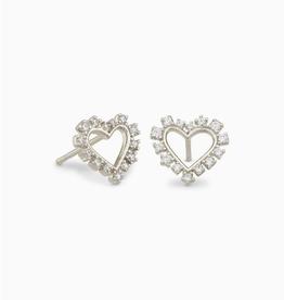 KENDRA SCOTT Earring Ari Heart White Crystal Stud Rhodium Silver