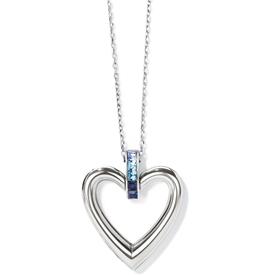 BRIGHTON Spectrum Open Heart Necklace - Silver-Blue, OS