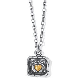 BRIGHTON Ferrara Virtue Winged Hearted Pendant Necklace-Silver-Gold