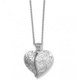 BRIGHTON Ornate Heart Convertible Necklace Silver OS