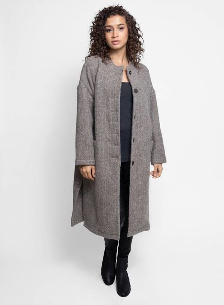 Local Cyrilla Herringbone Coat Grey