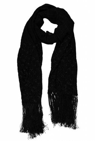 Burning Torch Beaded Silk Scarf Black