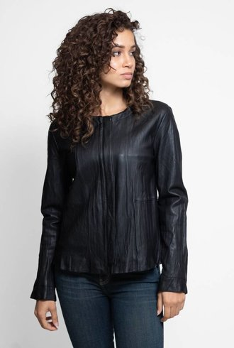 Burning Torch Washed Leather Swing Jacket Black