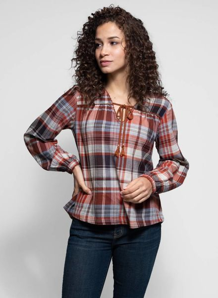 Trovata The Marie V-neck Blouse Rust Plaid