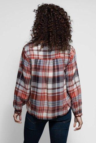 Trovata The Marie V-neck Blouse Rust Plaid