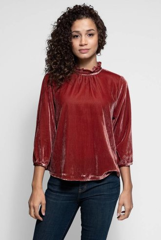 Trovata The Connie High-neck Blouse Hot Sauce