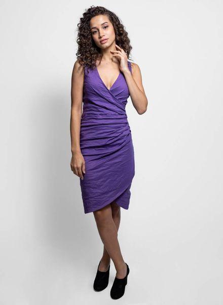 Nicole Miller V-Neck Tuck Dress Violet