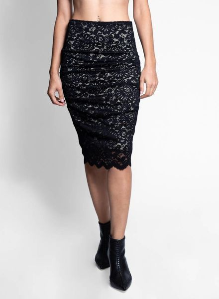 Nicole Miller Sandy Lace Skirt Black & Nude
