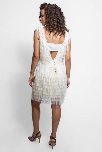 Nicole Miller Fringe Sheath Dress Ivory