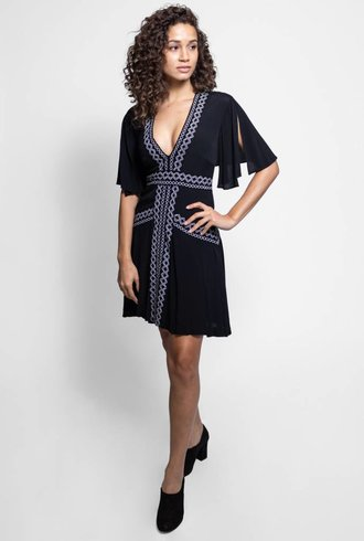 Nicole Miller Embroidered Dress Black