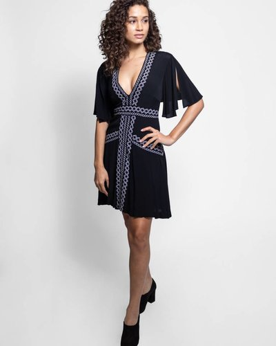 Nicole Miller Embroidered Dress Black Womens Clothing Boutique