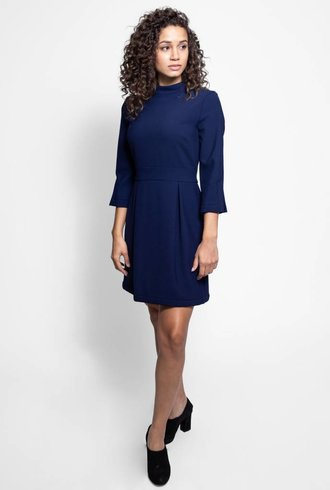 Nicole Miller Elbow Sleeve Mock Neck Dress Navy