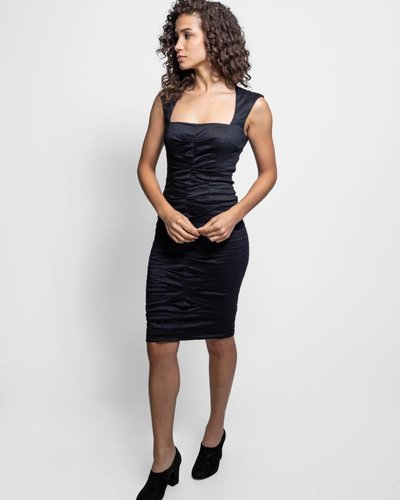 Nicole Miller Cotton Metal Square Neck Dress Black Womens