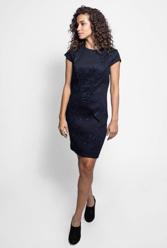 Nicole Miller Cap Sleeve Jacquard Dress Black & Navy