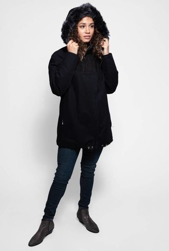 Liven Double Zip Shearling and Canvas Parka